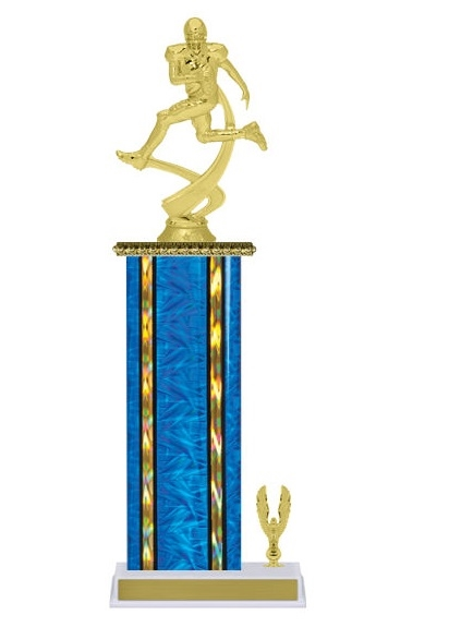 Wide Column with Trim<BR> Football Motion Trophy<BR> 12-14 Inches<BR> 10 Colors