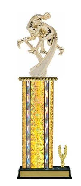 Wide Column with Trim<BR> Motion Wrestler Trophy<BR> 12-14 Inches<BR> 10 Colors