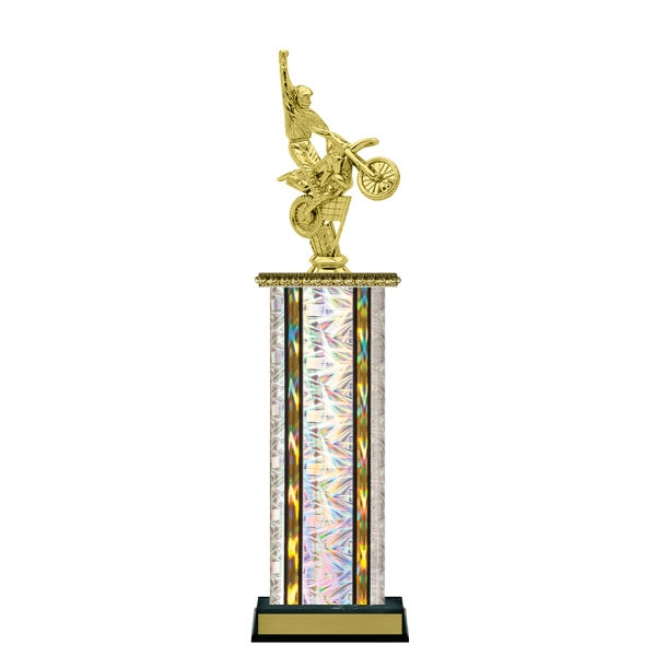 Wide Column<BR> Dirt Bike Trophy<BR> 12-14 Inches<BR> 10 Colors