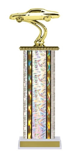 Wide Column<BR> Stock Car Trophy<BR> 12-14 Inches<BR> 10 Colors