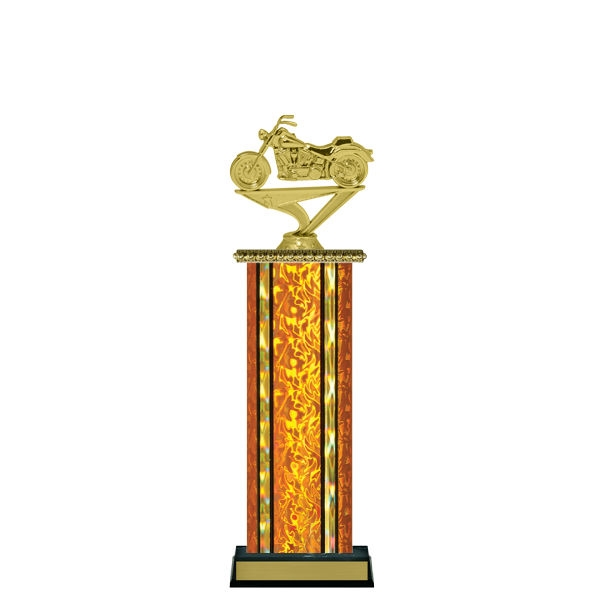 Wide Column<BR> Soft Tail Motorcycle Trophy<BR> 12-14 Inches<BR> 10 Colors