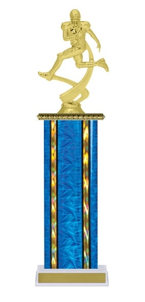 Wide Column<BR> Motion Football Trophy<BR> 12-14 Inches<BR> 10 Colors