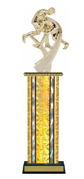 Wide Column<BR> Motion Wrestler Trophy<BR> 12-14 Inches<BR> 10 Colors