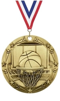 World Class XXL<BR> Basketball Medal<BR> Gold/Silver/Bronze<BR> 3 Inches