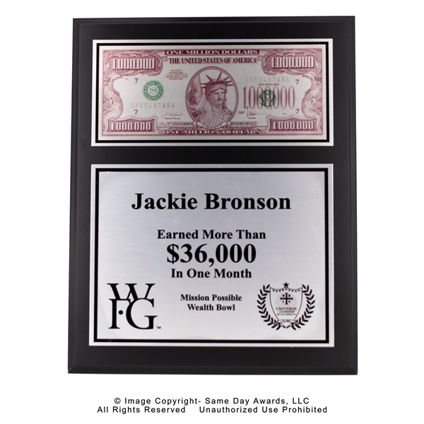 WFG Money Plaque<BR> Ebony Finish Plaque <BR>8x10 to 12 x 15 Inches