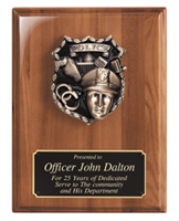 Police Casting<BR> Genuine Walnut Plaque<BR> 9x12 Inches