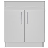 Cooktop Base 2 Door 1 False Front