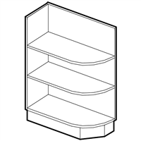 Coffee Square Base End Open Shelf (Left or Right)