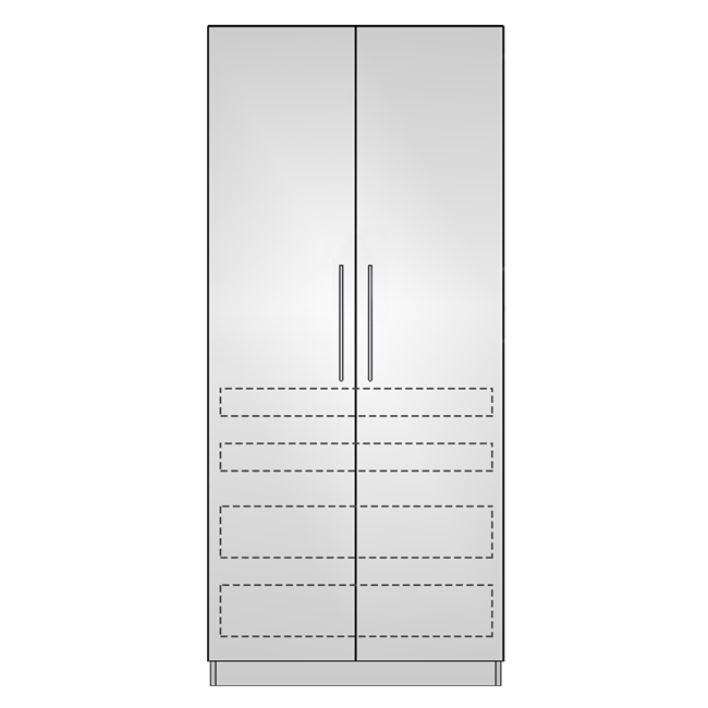 Pantry Double 2 Door 4 Interior Drawers