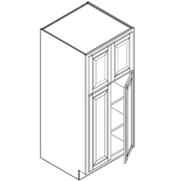 Coffee Square Double Pantry Cabinet 4 Doors