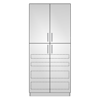 Pantry Double 4 Door 4 Interior Drawers