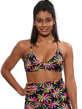 DIAMANTE BRA PRINTS - Neon Palm - Small