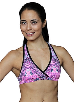 MARINGA BRA PRINTS - Pink Wave - X-Small
