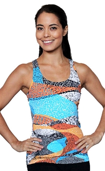 LIBERDADE TANK PRINTS - Orange Mosaic - Small