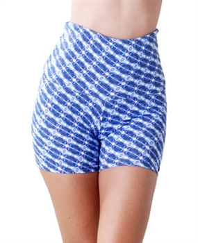 ITAPARICA HIGH-LOW SHORT PRINTS - Blue Crochet - Small