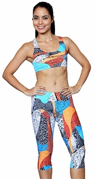 XIQUE XIQUE FULL aLENGTH LEGGING PRINTS - Ornge Mosaic - Small