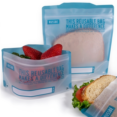 Statement Blue Linen Russbe Sandwich and Snack Bags