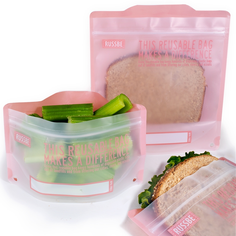 Reusable Snack And Sandwich Bags Set Of 4 Pink Statement