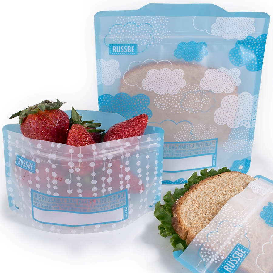 Reusable Snack And Sandwich Bags Set Of 4 Clouds