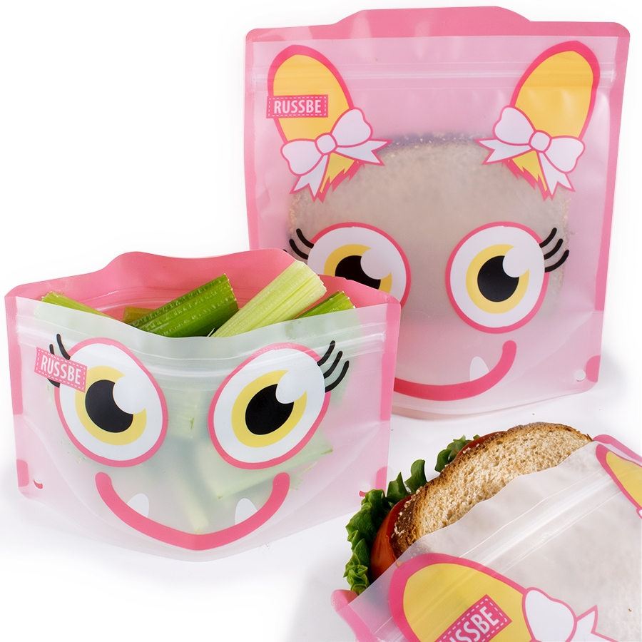 Reusable Snack And Sandwich Bags Set Of 4 Pink Monster