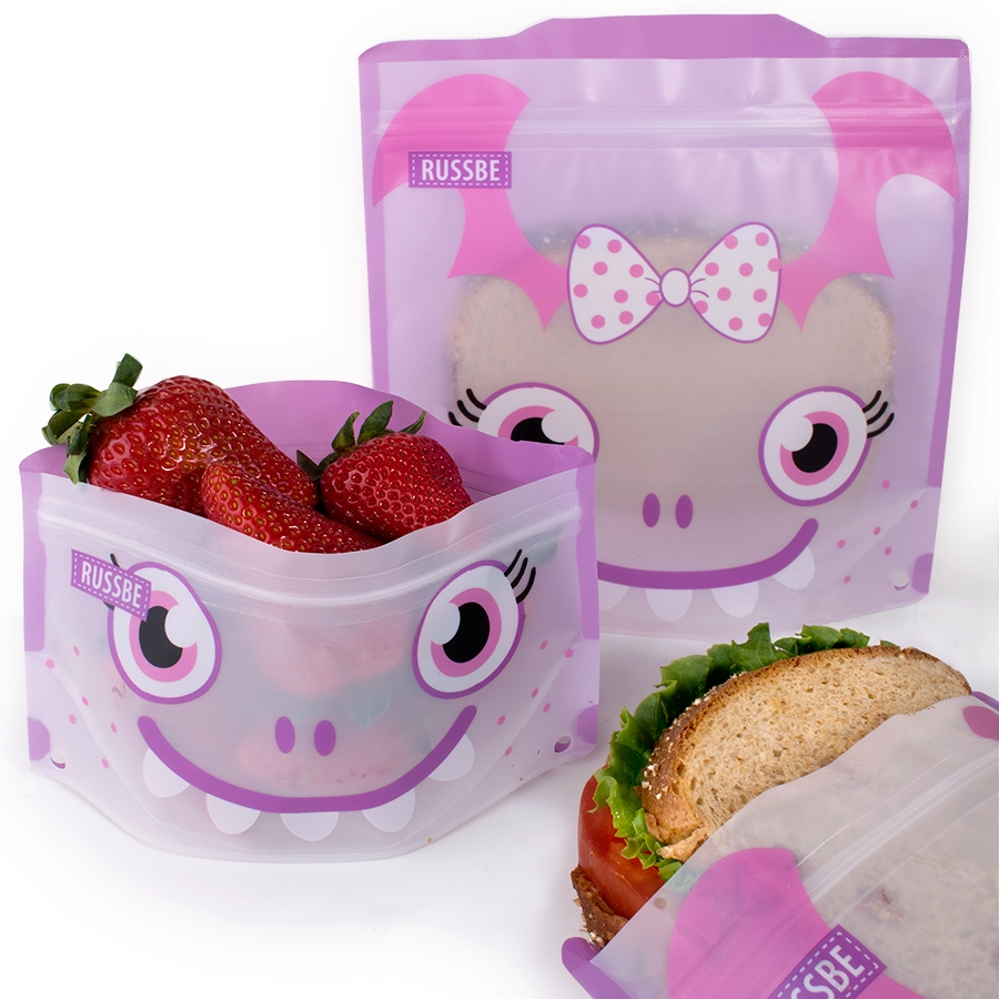 Reusable Snack And Sandwich Bags Set Of 4 Purple Monster