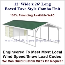 Carport With Storage Boxed Eave Style Metal Combo Unit 12' x 26' x 6'