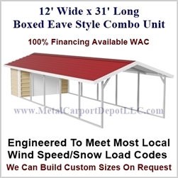 Carport With Storage Boxed Eave Style Metal Combo Unit 12' x 31' x 6'