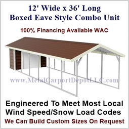 Carport With Storage Boxed Eave Style Metal Combo Unit 12' x 36' x 6'
