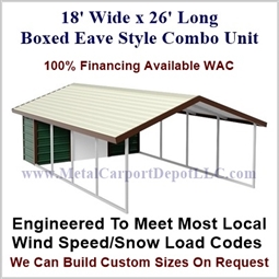 Carport With Storage Boxed Eave Style Metal Combo Unit 18' x 26' x 6'