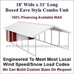Carport With Storage Boxed Eave Style Metal Combo Unit 18' x 31' x 6'