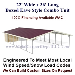 Carport With Storage Boxed Eave Style Metal Combo Unit 20' x 36' x 6'