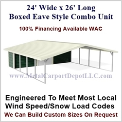 Carport With Storage Boxed Eave Style Metal Combo Unit 24' x 26' x 6'