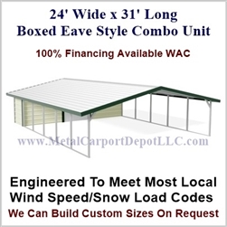 Carport With Storage Boxed Eave Style Metal Combo Unit 24' x 31' x 6'