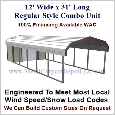 12 X 31 Regular Style Metal Combo Unit For Just 3 160 00
