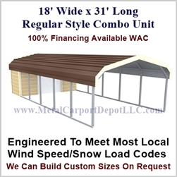 Carport With Storage Regular Style Metal Combo Unit 18' x 31' x 6'