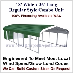 Carport With Storage Regular Style Metal Combo Unit 18' x 36' x 6'