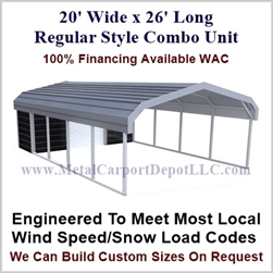 Carport With Storage Regular Style Metal Combo Unit 20' x 26' x 6'