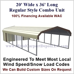 Carport With Storage Regular Style Metal Combo Unit 20' x 36' x 6'