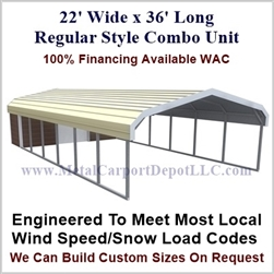 Carport With Storage Regular Style Metal Combo Unit 22' x 36' x 6'