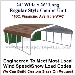 Carport With Storage Regular Style Metal Combo Unit 24' x 26' x 6'