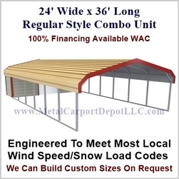 Carport With Storage Regular Style Metal Combo Unit 24' x 36' x 6'