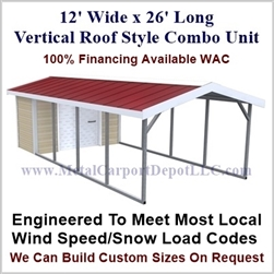 Carport With Storage Vertical Roof Style Metal Combo Unit 12' x 26' x 6'
