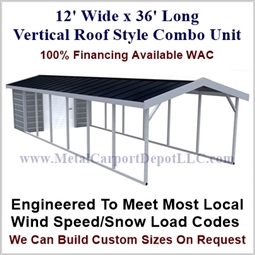 Carport With Storage Vertical Roof Style Metal Combo Unit 12' x 36' x 6'