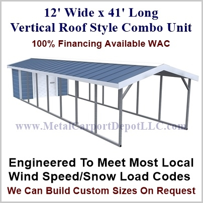 12 X 41 Vertical Roof Style Metal Combo Unit 4 875 00