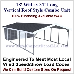 Carport With Storage Vertical Roof Style Metal Combo Unit 18' x 31' x 6'