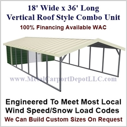 Carport With Storage Vertical Roof Style Metal Combo Unit 18' x 36' x 6'