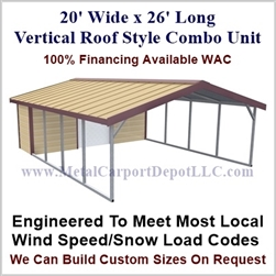 Carport With Storage Vertical Roof Style Metal Combo Unit 20' x 26' x 6'