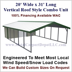 Carport With Storage Vertical Roof Style Metal Combo Unit 20' x 31' x 6'