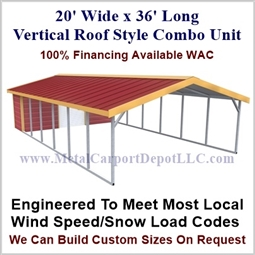 Carport With Storage Vertical Roof Style Metal Combo Unit 20' x 36' x 6'