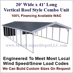 Carport With Storage Vertical Roof Style Metal Combo Unit 20' x 41' x 6'